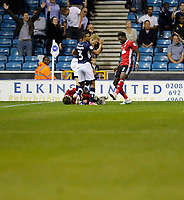 Ipswich Town's Joe Garner appears to be fouled during the Sky Bet Championship match between Millwall and Ipswich Town at The Den, London, England on 15 August 2017. Photo by Carlton Myrie.