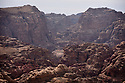 A PIECE OF JORDAN - TRAVEL FEATURE. LOOKING INTO THE VALLEY WHICH HOLDS THE ANCIENT SITE OF PETRA FROM SURROUNDING HILLS. . PHOTO BY CLARE KENDALL. 07971 477316.