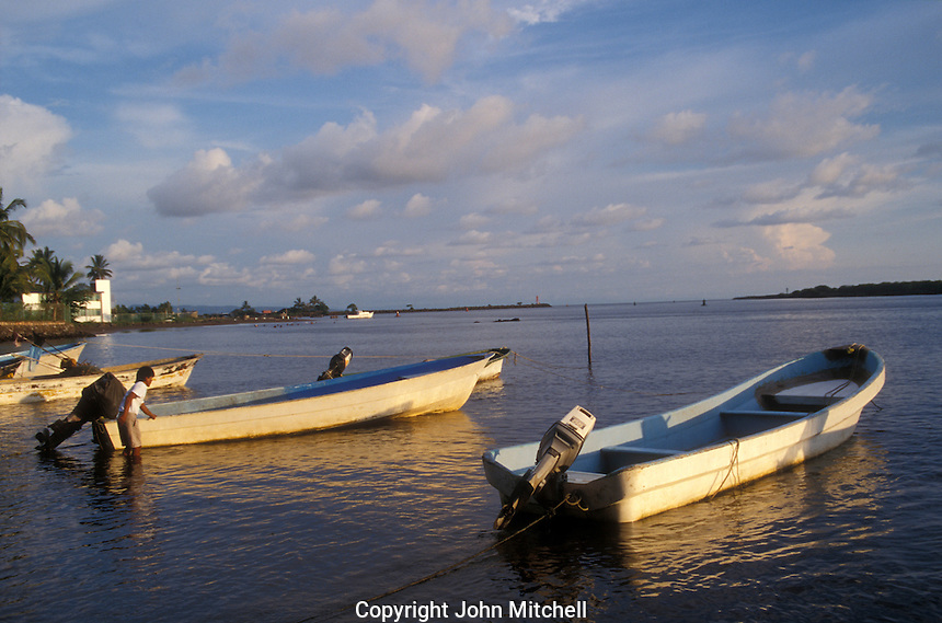Fishing boats in the Pacific Coast town of San Blas, Nayarit. Mexico