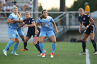 Piscataway, NJ - Saturday Aug. 27, 2016: Julie Johnston, Christie Rampone, Stephanie McCaffrey, Kristin Grubka during a regular season National Women's Soccer League (NWSL) match between Sky Blue FC and the Chicago Red Stars at Yurcak Field.