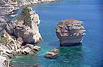Overlooking the Mediterranean sea and the coastline of the island of Corsica near the town of Bonifacio.