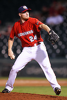Chris Hicks (24) in action during the MiLB matchup between the New Orleans Zephyrs and the Oklahoma City Redhawks at Chickasaw Bricktown Ballpark on June 10th, 2012 in Oklahoma City, Oklahoma. The Redhawks defeated the Zephyrs 12-9  (William Purnell/Four Seam Images)