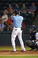 Chad Smith (6) of the Hickory Crawdads at bat against the Charleston RiverDogs at L.P. Frans Stadium on August 10, 2019 in Hickory, North Carolina. The RiverDogs defeated the Crawdads 10-9. (Brian Westerholt/Four Seam Images)