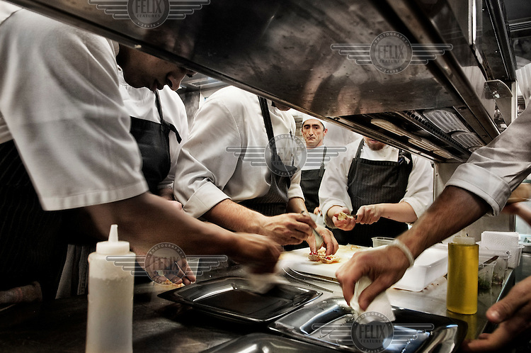 Student chefs train in the kitcken of Juan Mari Arzak's Arzak Restaurant in San Sebastian.