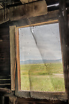 Screen window, abandoned farm, Van Matre Ranch, Carrizo Plain, San Luis Obispo County, Calif.