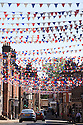 30/05/2012 ..The small market town of Ashbourne, on the edge of The Peak District in Derbyshire, has hung a staggering eight miles of red, white and blue bunting across its Georgian streets ahead of this weekend's Jubilee celebrations......All Rights Reserved - F Stop Press.  www.fstoppress.com. Tel: +44 (0)1335 300098.Copyrighted Image. Fees charged will reflect previously agreed terms or space rates for individual publications, states or country.
