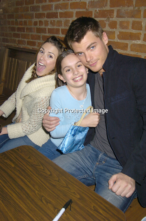 Elizabeth Hendrickson, fan Shannon Gisondi and Jeff Branson ..at a luncheon at The Town Tavern in New York City on ..January 29, 2005, with a portion of the  proceeds going to..support breast cancer research. ..Photo by Robin Platzer, Twin Images