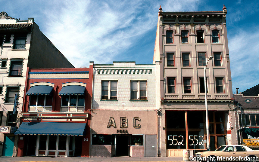 San Diego: Buildings in 500 block of 5th Ave., Gaslamp District. Photo '81.