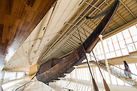 The Khufu Ship, a Solar Barge. The Ancient Egyptians believed that a resurrected king would travel to heaven with the sun god Rad. Khufu Boat Museum, Giza, Egypt