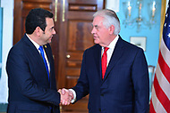 Washington, DC - February 8, 2018: U.S. Secretary of State Rex Tillerson meets with Guatemalan President Jimmy Morales at the Department of State in Washington, D.C., February 8, 2018.  (Photo by Don Baxter/Media Images International)
