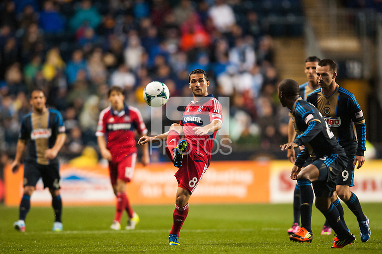 Dilly Duka (8) of the Chicago Fire. The Philadelphia Union defeated the Chicago Fire 1-0 during a Major League Soccer (MLS) match at PPL Park in Chester, PA, on May 18, 2013.