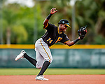 5 March 2019: Pittsburgh Pirates minor league Position Player Jesus Valdez works on infield drills at Pirate City in Bradenton, Florida. Mandatory Credit: Ed Wolfstein Photo *** RAW (NEF) Image File Available ***