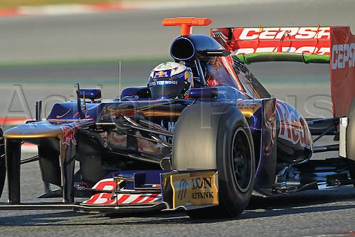 22.02.2012 Barcelona Spain. Formula One testing, day 2.Daniel Ricciardo on track in the Scuderia Toro Rosso.