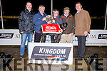 Nushkas Premier winner of the Red Mills Unraced Bitch Stakes Final pictured l-r  Kieran Casey, John Gagen, Connolly's Red Mills Sponsor, presented  Arthur Ryan, part owner and Brian Griffin with the Trophy here with Declan Dowling at the Kingdom Greyhound Stadium on Friday