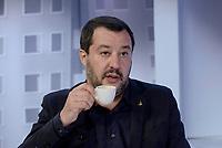 Roma,29 Novembre 2018<br /> Matteo Salvini beve un caff&egrave; durante la trasmissione televisiva L'aria che tira