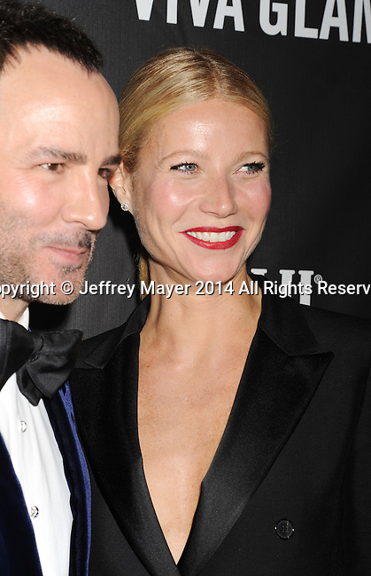 HOLLYWOOD, CA- OCTOBER 29: Honoree Tom Ford (L) and actress Gwyneth Paltrow attend amfAR LA Inspiration Gala honoring Tom Ford at Milk Studios on October 29, 2014 in Hollywood, California.