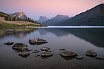 Bridger-Teton National Forest, Wyoming:<br /> Twilight colors over the Wind River Range with reflections on the Green River