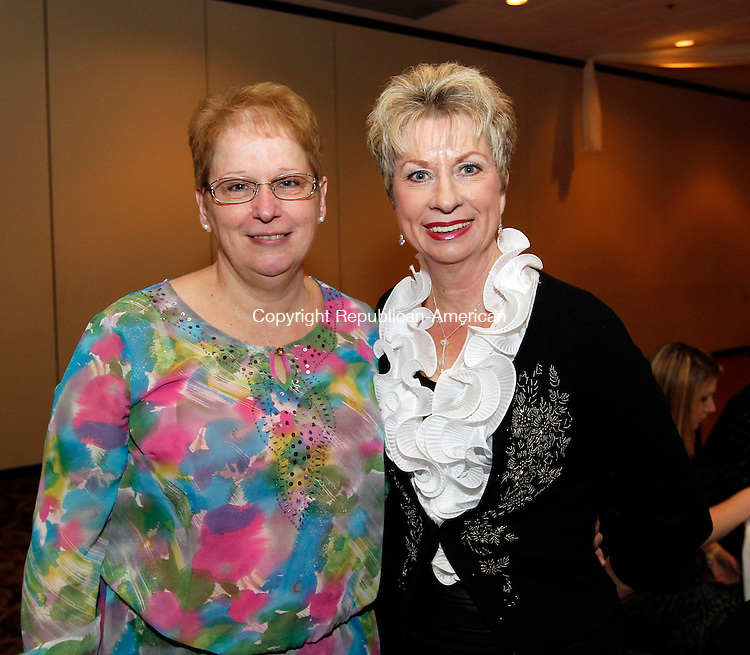 Waterbury, CT- 07, November 2010-110710CM08  Barbara Theriault (volunteer and  honoree), and Rose Bourgoin (Presenter of awards) at The Caroylon's Place Pregnancy Care Center 18th Anniversary Annual Dinner, Ponte Club Waterbury, Conn.   Christopher Massa Republican-American