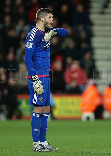 01.03.2016. Vitality Stadium, Bournemouth, England. Barclays Premier League. Bournemouth versus Southampton. Southampton Goalkeeper Fraser Forster watches on as his team loses another goal