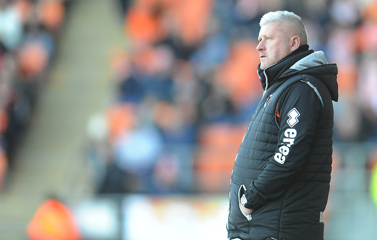 Blackpool's Manager Terry McPhillips<br /> <br /> Photographer Kevin Barnes/CameraSport<br /> <br /> The EFL Sky Bet League One - Blackpool v Southend United - Saturday 9th March 2019 - Bloomfield Road - Blackpool<br /> <br /> World Copyright © 2019 CameraSport. All rights reserved. 43 Linden Ave. Countesthorpe. Leicester. England. LE8 5PG - Tel: +44 (0) 116 277 4147 - admin@camerasport.com - www.camerasport.com
