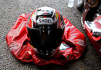 Jun. 2, 2013; Englishtown, NJ, USA: Detailed view of the helmet and riding leathers of NHRA pro stock motorcycle rider Matt Smith during the Summer Nationals at Raceway Park. Mandatory Credit: Mark J. Rebilas-
