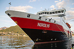 Hurtigruten ferry ship Nordlys arriving at Tromso, Norway