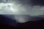 South Rim Grand Canyon storm clouds and light on rock formations Arizona State