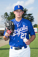 Joseph Markus (27) of the Burlington Royals poses for a photo prior to the game against the Danville Braves at Burlington Athletic Park on July 12, 2015 in Burlington, North Carolina.  The Royals defeated the Braves 9-3. (Brian Westerholt/Four Seam Images)