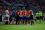 Atletico de Madrid's players during La Liga match. August 25, 2018. (ALTERPHOTOS/A. Perez Meca)