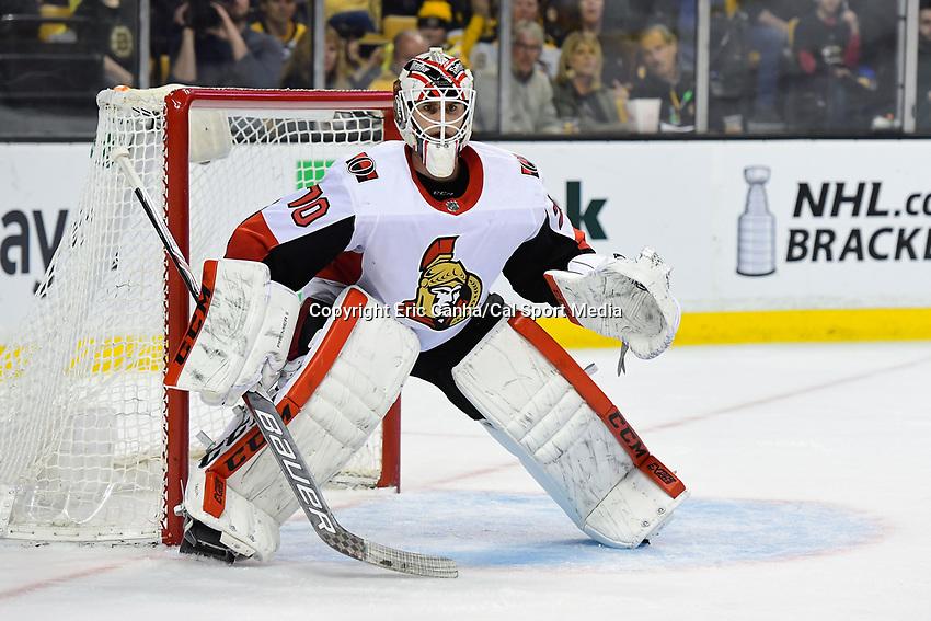 April 7, 2018: Ottawa Senators goaltender Daniel Taylor (70) minds the net during the NHL game between the Ottawa Senators  and the Boston Bruins held at TD Garden, in Boston, Mass. Boston defeats Ottawa 5-2 Eric Canha/CSM