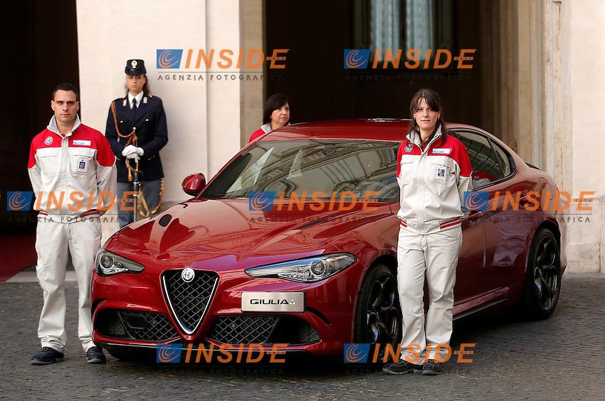 Roma 05-05-2016 Palazzo Chigi. Presentazione della Nuova Alfa Romeo Giulia.<br /> Rome 16th May 2016. Presentation of the new Giulia by Alfa Romeo.<br /> Photo Samantha Zucchi Insidefoto