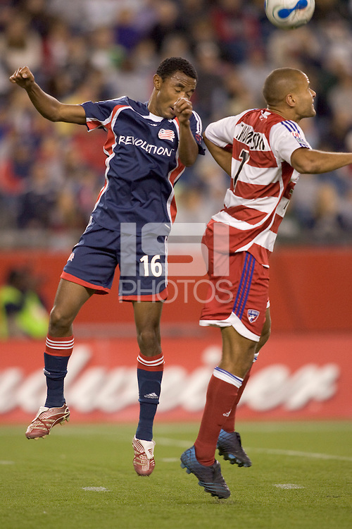 New England Revolution defender James Riley (16) and FC Dallas forward Abe Thompson (7) battle for a head ball. The New England Revolution defeated FC Dallas 4-2 in an MLS regular season match at Gillette Stadium, Foxborough, MA, on September 15, 2007.