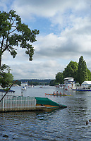 Henley-on-Thames. United Kingdom.  General View of the regatta course and  buildings, 2017 Henley Royal Regatta, Henley Reach, River Thames. <br /> <br /> <br /> 09:19:45  Friday  30/06/2017   <br /> <br /> [Mandatory Credit. Peter SPURRIER/Intersport Images.