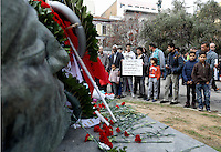 Pictured: People attend the anniversary at the Athens Polytechinc in Athens Greece. Wednesday 16 November 2016<br /> Re: 43rd anniversary of the Athens Polytechnic uprising of 1973 which was a massive demonstration of popular rejection of the Greek military junta of 1967–1974. The uprising began on November 14, 1973, escalated to an open anti-junta revolt and ended in bloodshed in the early morning of November 17 after a series of events starting with a tank crashing through the gates of the Polytechnic.