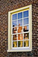 Reflection in window, Shaker Village of Pleasant Hill, near Harrodsburg, Kentucky