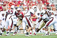 September 03, 2011:   Louisiana Monroe Warhawks quarterback Kolton Browning (15) runs a keeper play during 1st half action between the Florida State Seminoles and the Louisiana Monroe Warhawks at Doak S. Campbell Stadium in Tallahassee, Florida.