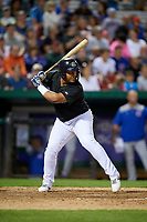 Kane County Cougars designated hitter Eudy Ramos (19) at bat during a game against the South Bend Cubs on July 21, 2018 at Northwestern Medicine Field in Geneva, Illinois.  South Bend defeated Kane County 4-2.  (Mike Janes/Four Seam Images)