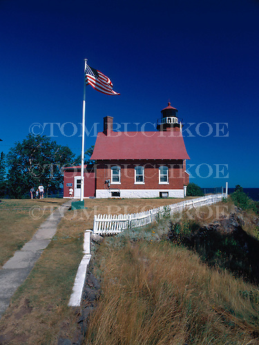 Eagle Harbor lighthouse on Lake Superior in the Keweenaw peninsula of the Upper Peninsula of Michigan.