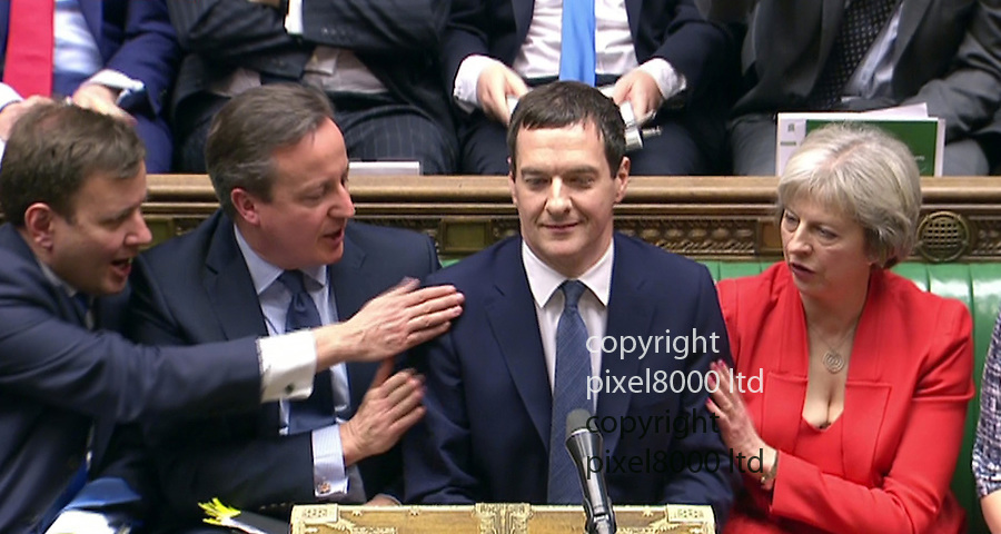 Pic shows: Budget 2016<br /> <br /> George Osborne get congratulated and big laughs for his joke about abolishing the Lib Dems rather than pension lump sum.<br /> <br /> Tim Farron could only grin<br /> <br /> <br /> <br /> <br /> Picture by Pixel8000 07917221968