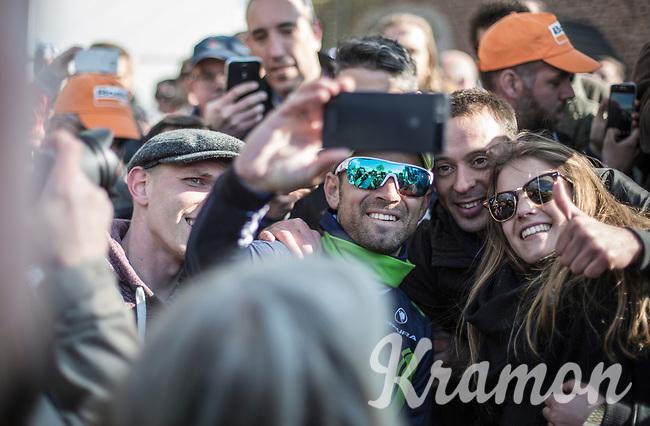 selfie with race winner Alejandro Valverde (ESP/Movistar)<br /> <br /> 81st Fl&egrave;che Wallonne 2017 (1.UWT)<br /> 1day race: Binche &gt; Huy 200,5KM