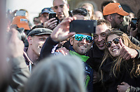 selfie with race winner Alejandro Valverde (ESP/Movistar)<br /> <br /> 81st Fl&egrave;che Wallonne 2017 (1.UWT)<br /> 1day race: Binche &gt; Huy 200,5KM