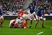 February 1st 2019, St Denis, Paris, France: 6 Nations rugby tournament, France versus Wales;  Tomos Williams (wal) kicks for field position