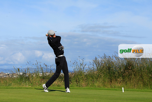 Tiernan McLarnon (Masereene) on the 4th tee during Round 3 of Matchplay in the North of Ireland Amateur Open Championship at Portrush Golf Club, Portrush on Thursday 14th July 2016.<br /> Picture:  Thos Caffrey / www.golffile.ie