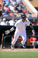 Detroit Tigers designated hitter Victor Martinez (41) during a spring training game against the St. Louis Cardinals on March 3, 2014 at Joker Marchant Stadium in Lakeland, Florida.  Detroit defeated St. Louis 8-5.  (Mike Janes/Four Seam Images)