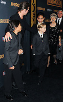 HOLLYWOOD, LOS ANGELES, CA, USA - DECEMBER 15: Brad Pitt; Pax Thien Jolie-Pitt, Shiloh Nouvel Jolie-Pitt, Maddox Jolie-Pitt, Jane Pitt, William Pitt arrive at the Los Angeles Premiere Of Universal Pictures' 'Unbroken' held at the Dolby Theatre on December 15, 2014 in Hollywood, Los Angeles, California, United States. (Photo by Celebrity Monitor)