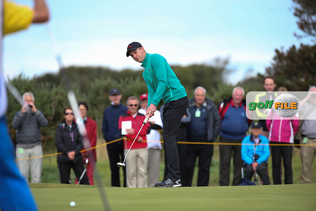 Ashley Chester (ENG) putting on the 11th during Sunday morning Foursome matches of The Walker Cup 2015 played at Royal Lytham and St Anne's, Lytham St Anne's, Lancashire, England. 13/09/2015. Picture: Golffile | David Lloyd<br /> <br /> All photos usage must carry mandatory copyright credit (&copy; Golffile | David Lloyd)