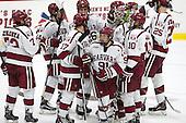 The Crimson celebrate their win. - The Harvard University Crimson defeated the visiting Brown University Brown Bears 5-2 (EN) on Saturday, November 7, 2015, at Bright-Landry Center in Boston, Massachusetts.