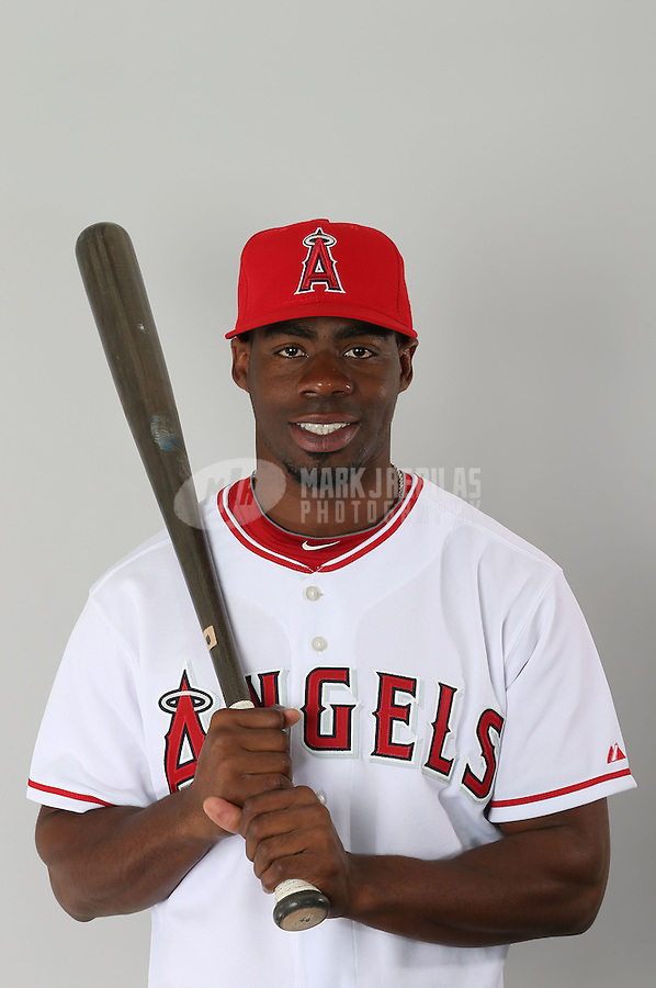 Feb. 21, 2013; Tempe, AZ, USA: Los Angeles Angels outfielder Travis Witherspoon poses for a portrait during photo day at Tempe Diablo Stadium. Mandatory Credit: Mark J. Rebilas-
