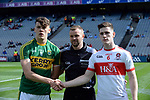17-1-2017: David Clifford, captain shakes hands with Derry captain Padraig McGrogan and referee Anthony Nolan in the All-Ireland Football final at Croke Park on Sunday.<br /> Photo: Don MacMonagle