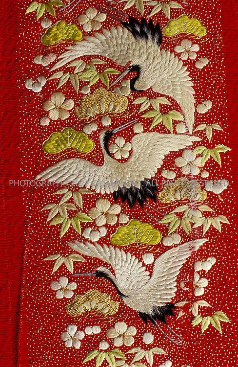 Kyoto, Japan..Embroidery details from one of Mineko Iwasaki kimonos...All photographs ©2003 Stuart Isett.All rights reserved.